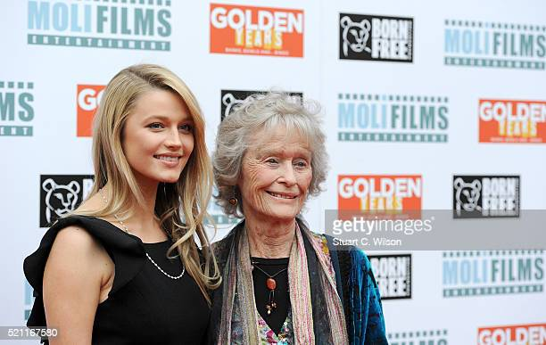 """Actresses Lily Travers and Virginia McKenna attend the UK film premiere of """"Golden Years"""" at the Odeon Tottenham Court Road on April 14, 2016 in..."""