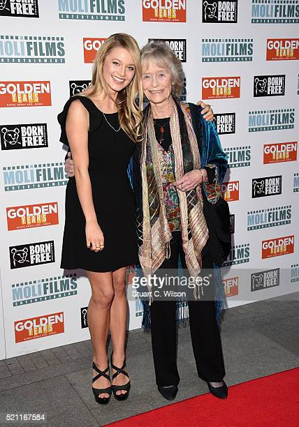 Actresses Lily Travers and Virginia McKenna attend the UK film premiere of 'Golden Years' at the Odeon Tottenham Court Road on April 14 2016 in...