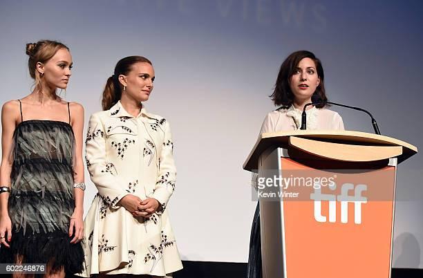 Actresses LilyRose Depp Natalie Portman and Amira Casar attend the 'Planetarium' premiere during the 2016 Toronto International Film Festival at Roy...