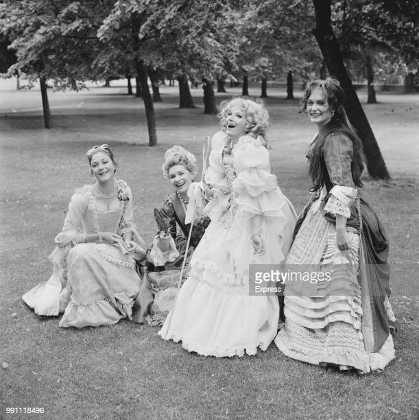 Actresses Linda Thorson Sheila Allen Fenella Fielding and Alexandra Bastedo wearing period costumes in Greenwich Park London UK 13th June 1973