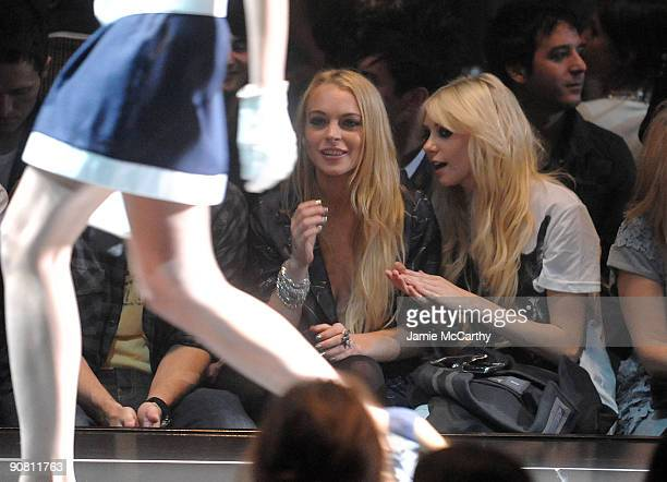 Actresses Lindsay Lohan and Taylor Momsen attend the GStar Raw Spring/Summer 2010 fashion show at Hammerstein Ballroom on September 15 2009 in New...