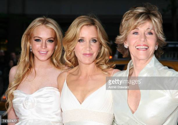 """Actresses Lindsay Lohan, Felicity Huffman, and Jane Fonda attend the premiere of """"Georgia Rule"""" at the Ziegfeld on May 8, 2007 in New York City."""