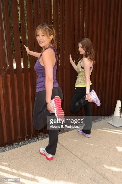 Actresses Lindsay Price and Anna Kendrick attend the Reebok Women's Fitness event on June 16 2010 in Los Angeles California