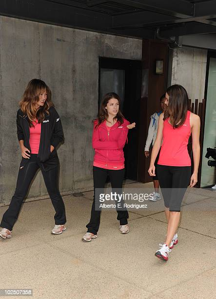 Actresses Lindsay Price Anna Kendrick and Emmy Rossum attend the Reebok Women's Fitness event on June 16 2010 in Los Angeles California