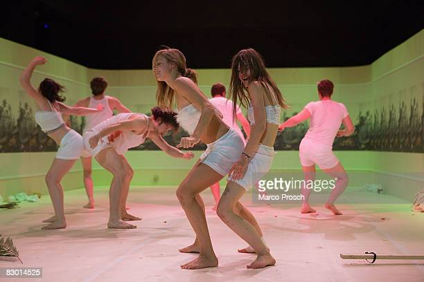 Actresses Lisa Bitter and Ines Schiller perform at the rehearsel of 'Feuchtgebiete' based on the book by Charlotte Roche at the Kulturinsel Werft on...