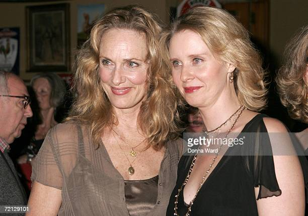 Actresses Lisa Emery and Cynthia Nixon attend the after-party for their Off-Broadway revival of The Prime Of Miss Jean Brodie at Pigalle's restaurant...