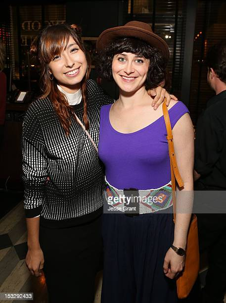 Actresses Liz Lee and Jenn Schatz attend the Los Angeles premiere of 'Nobody Walks' after party at Wood Vine on October 2 2012 in Hollywood California