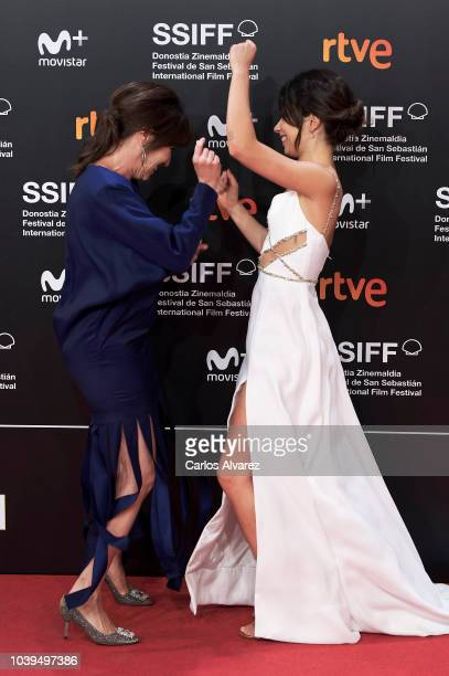 Actresses Lola Duenas and Anna Castillo attend the 'Beautiful Boy' premiere during the 66th San Sebastian International Film Festival on September 24...
