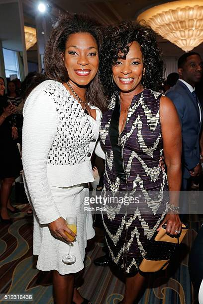 Actresses Lorraine Toussaint and Vanessa Bell Calloway attend the 2016 ESSENCE Black Women In Hollywood awards luncheon at the Beverly Wilshire Four...
