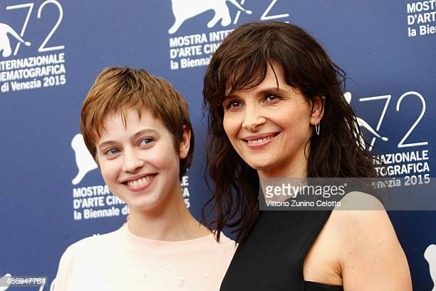 Actresses Lou de Laage and Juliette Binoche attend a photocall for 'The Wait' during the 72nd Venice Film Festival at Palazzo del Casino on September...