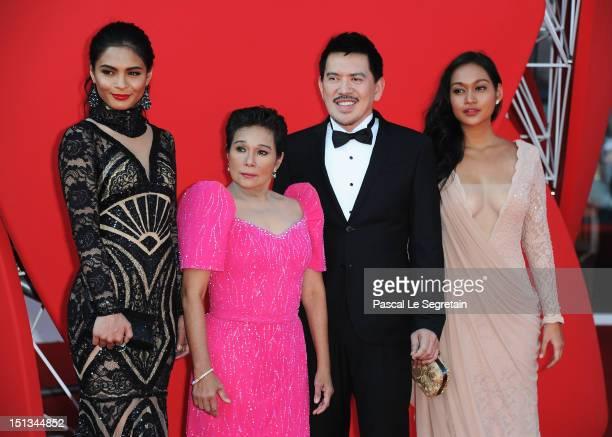 Actresses Lovi PoeNora Aunordirector Brillante Mendoza and Mercedes Cabral attend the Thy Womb Premiere at the 69th Venice Film Festival at the...