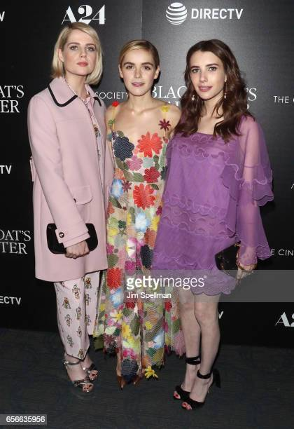 Actresses Lucy Boynton Kiernan Shipka and Emma Roberts attend 'The Blackcoat's Daughter' screening hosted by A24 and DirecTV with The Cinema Society...