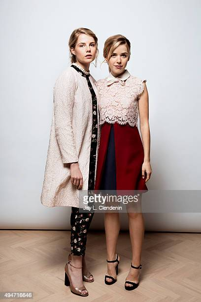 Actresses Lucy Boynton left and Kiernan Shipka right from the movie February are photographed for Los Angeles Times on September 25 2015 in Toronto...