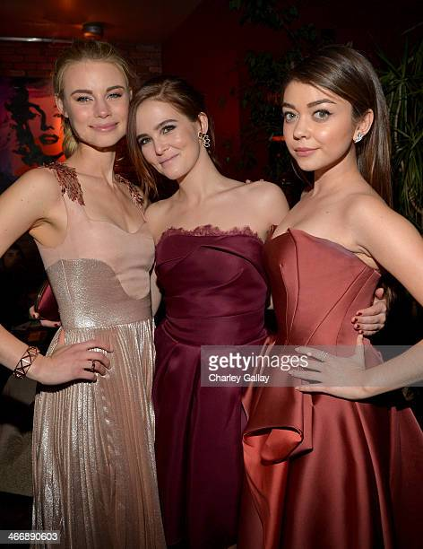 Actresses Lucy Fry Zoey Deutch and Sarah Hyland attend The Weinstein Company's premiere of 'Vampire Academy' after party at Lucky Strike Lanes Lounge...