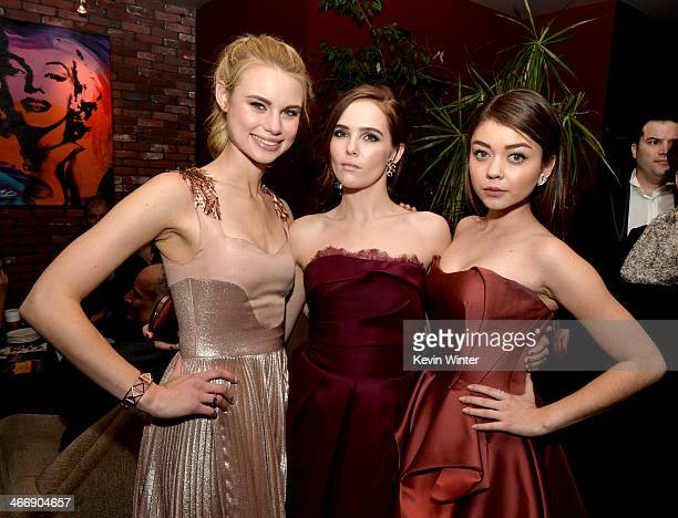 Actresses Lucy Fry Zoey Deutch and Sarah Hyland pose at the after party for the premiere of The Weinstein Company's 'Vampire Academy' at the Lucky...
