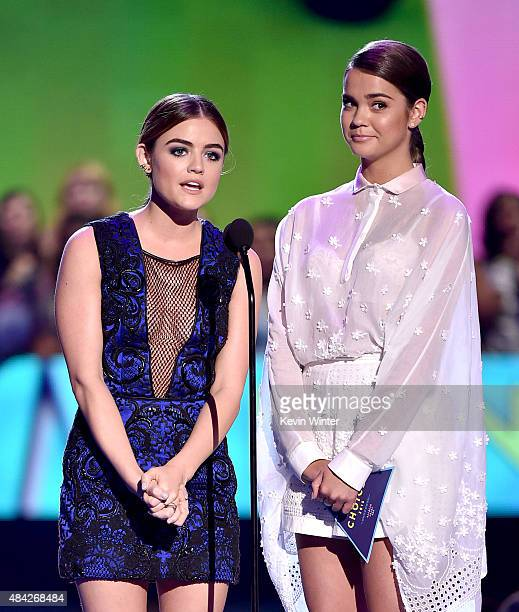 Actresses Lucy Hale and Maia Mitchell speak onstage during the Teen Choice Awards 2015 at the USC Galen Center on August 16 2015 in Los Angeles...