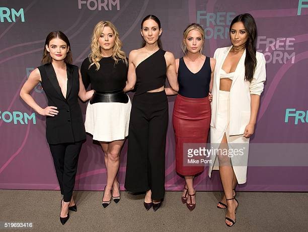 Actresses Lucy Hale Sasha Pieterse Troian Bellisario Ashley Benson and Shay Mitchell attend the 2016 Freeform Upfront at Spring Studios on April 7...