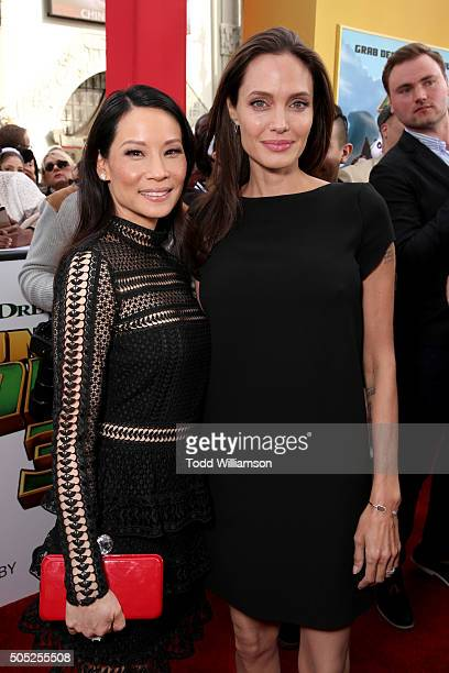 Actresses Lucy Liu and Angelina Jolie attend the premiere of DreamWorks Animation and Twentieth Century Fox's 'Kung Fu Panda 3' at the TCL Chinese...