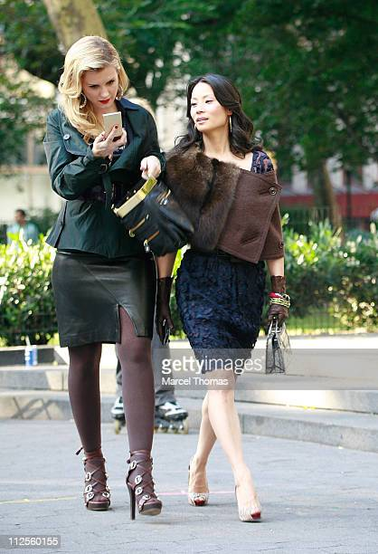 Actresses Lucy Liu and Bonnie Somerville sighting filming scences for the Television show 'Cashmere Mafia' in Madison Square Park on September 20 200...