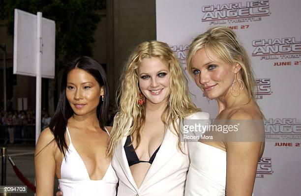 Actresses Lucy Liu Drew Barrymore and Cameron Diaz attend the premiere of Columbia Pictures' film Charlie's Angels 2 Full Throttle at the Grauman's...