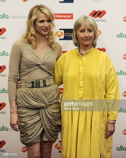 Actresses Lucy Punch and Gemma Jones take part in a photocall before giving a press conference on Woody Allen's latest film �You Will Meet a Tall...