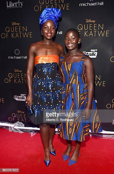 """Actresses Lupita Nyong'o and Madina Nalwanga arrive at the world premiere of Disney's """"Queen of Katwe"""" at Roy Thompson Hall as part of the 2016..."""
