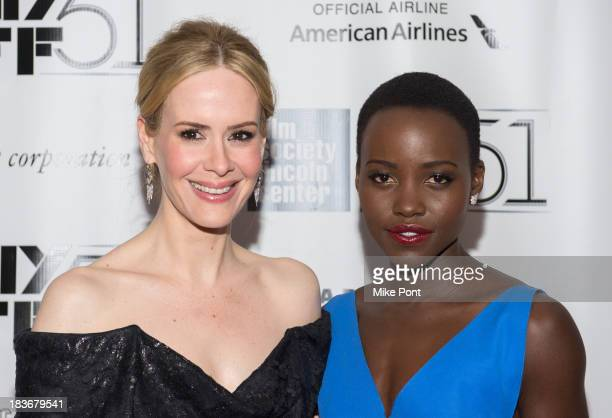 Actresses Lupita Nyong'o and Sarah Paulson attend the 12 Years A Slave premiere during the 51st New York Film Festival at Alice Tully Hall at Lincoln...