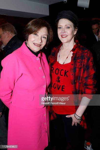 """Actresses Macha Meril and Agnes Soral attend Claude Lelouch receives the Insignia of Officer of the Legion of Honor at """"Club 13"""" on February 13, 2019..."""