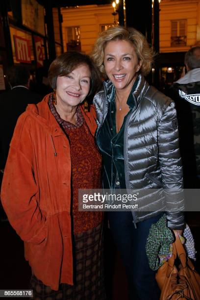 "Actresses Macha Meril and Corinne Touzet attend the ""Ramses II"" Theater Play at Theatre des Bouffes Parisiens on October 23, 2017 in Paris, France."