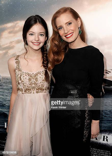 Actresses Mackenzie Foy and Jessica Chastain attend the premiere of Paramount Pictures' Interstellar at TCL Chinese Theatre IMAX on October 26 2014...