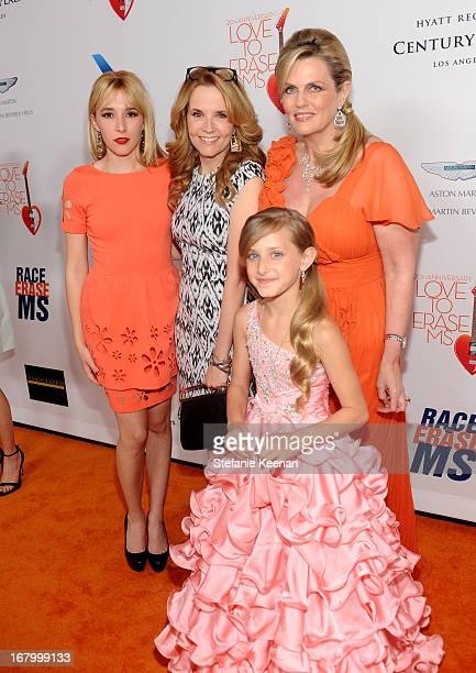 Actresses Madelyn Deutch Lea Thompson Mariella Rickel and Nancy Davis attend the 20th Annual Race To Erase MS Gala Love To Erase MS at the Hyatt...