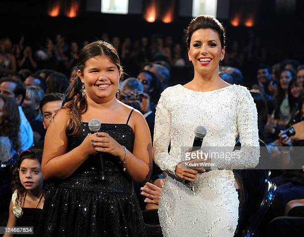 Actresses Madison De La Garza and Eva Longoria in the audience during the 2011 NCLR ALMA Awards held at Santa Monica Civic Auditorium on September 10...
