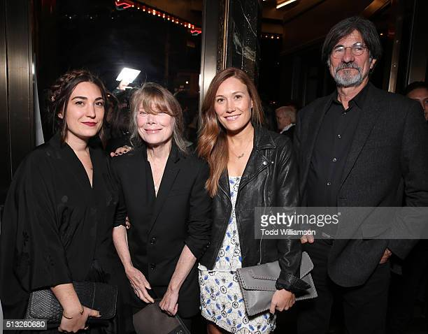 Actresses Madison Fisk Sissy Spacek and Schuyler Fisk and production designer Jack Fisk attend the premiere of Broad Green Pictures' Knight Of Cups...