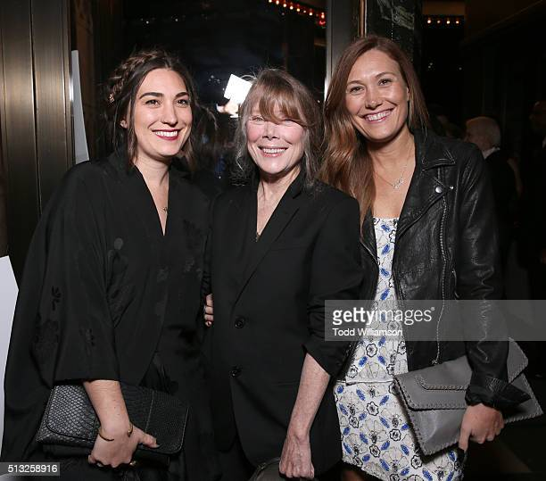 Actresses Madison Fisk Sissy Spacek and Schuyler Fisk attend the premiere of Broad Green Pictures' Knight Of Cups on March 1 2016 in Los Angeles...
