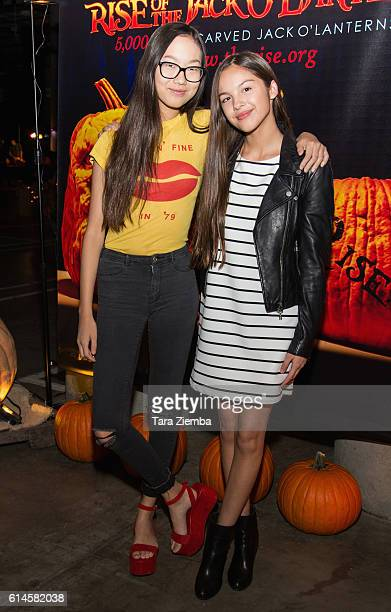 Actresses Madison Hu and Olivia Rodrgio attends Rise of the Jack O'Lanterns at Los Angeles Convention Center on October 13 2016 in Los Angeles...