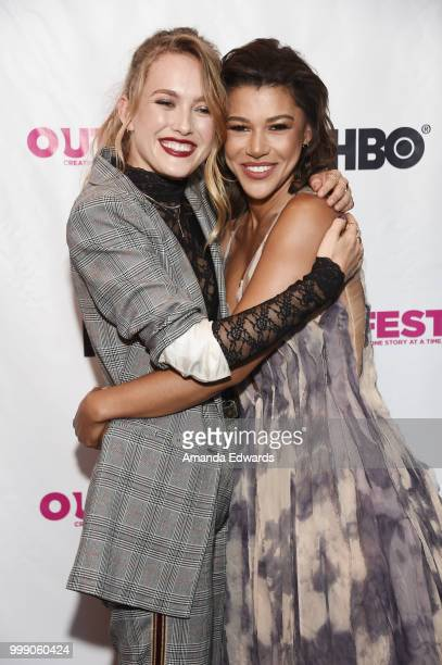 Actresses Madison Lawlor and Montana Manning arrive at the 2018 Outfest Los Angeles premiere of 'Daddy Issues' at the DGA Theater on July 14 2018 in...
