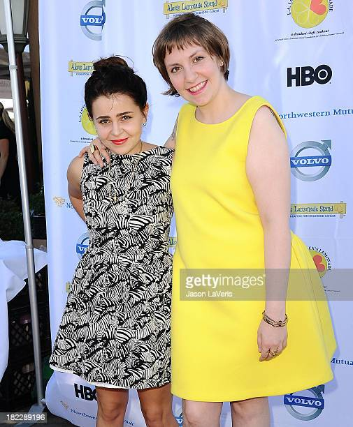 Actresses Mae Whitman and Lena Dunham attend the 4th annual LA Loves Alex's Lemonade event at Culver Studios on September 28 2013 in Culver City...