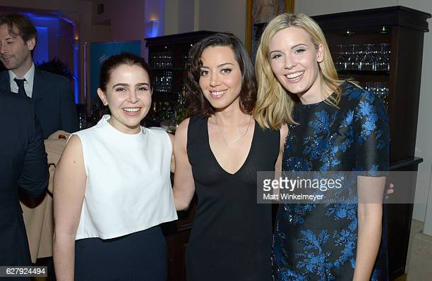 Actresses Mae Whitman Aubrey Plaza and Maggie Grace attend Equality Now's third annual Make Equality Reality Gala on December 5 2016 in Beverly Hills...