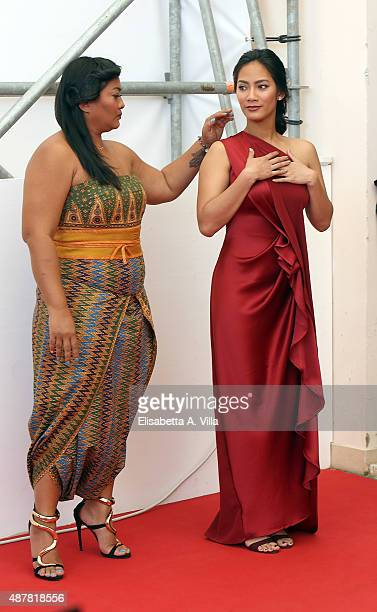Actresses Maera Panigoro and Tara Basro attends a photocall for 'A Copy Of My Mind' during the 72nd Venice Film Festival at Palazzo del Casino on...