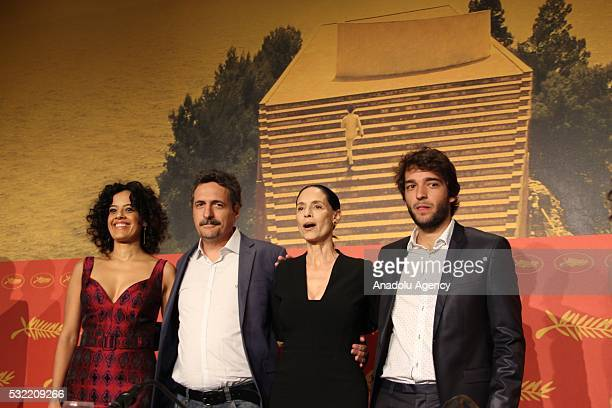 Actresses Maeve Jinkings Sonia Braga and actor Humberto Carrao attend a press conference for 'Aquarius' during the 69th annual Cannes Film Festival...