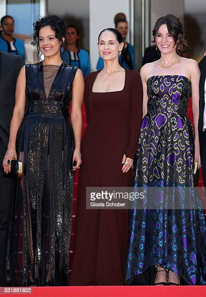 Actresses Maeve Jinkings Sonia Braga and producer Emilie Lesclaux attends the 'Aquarius' premiere during the 69th annual Cannes Film Festival at the...
