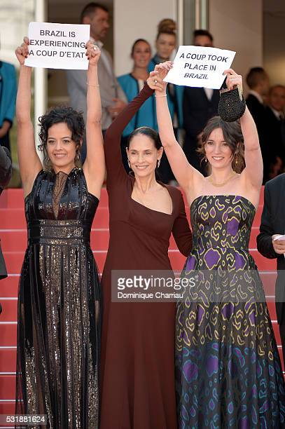 Actresses Maeve Jinkings Sonia Braga and producer Emilie Lesclaux attends the Aquarius premiere during the 69th annual Cannes Film Festival at the...
