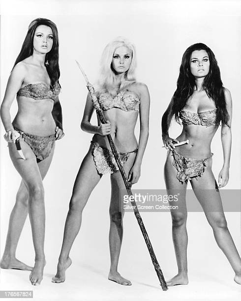 Actresses Magda Konopka as Ulido Victoria Vetri as Sanna and Imogen Hassall as Ayak in a promotional portrait for 'When Dinosaurs Ruled The Earth'...