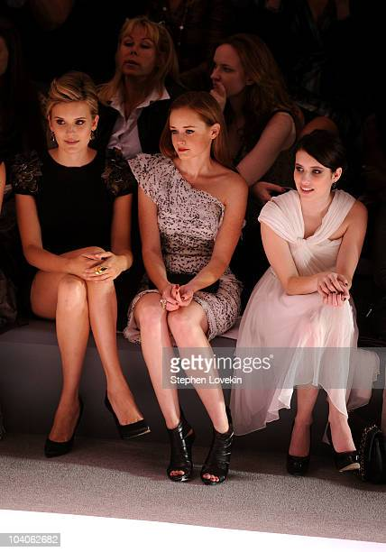 Actresses Maggie Grace Alexis Bledel and Emma Roberts attend the Monique Lhuillier Spring 2011 fashion show during MercedesBenz Fashion Week at The...