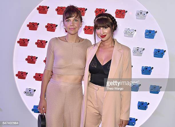 Actresses Maggie Gyllenhaal and Jackie Cruz attend the opening party and celebration of LOVE From Cave to Keyboard Imagined by Pepsi at 433 Broadway...