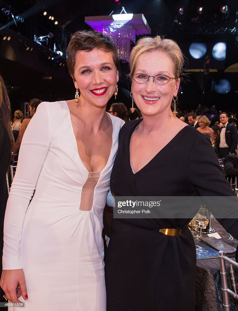 Actresses Maggie Gyllenhaal and Meryl Streep attend TNT's 21st Annual Screen Actors Guild Awards at The Shrine Auditorium on January 25, 2015 in Los Angeles, California. 25184_013
