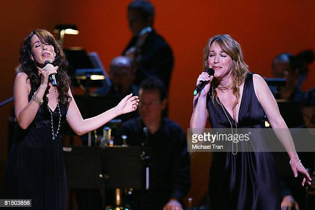 Actresses Maggie Wheeler and Kathleen Wilhoite perform at the What A Pair 6 a celebrity concert benefiting The John Wayne Cancer Institute at St...