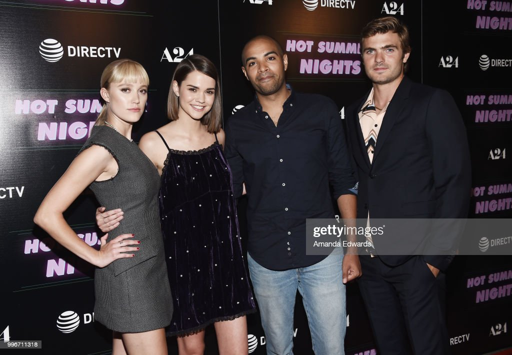 Actresses Maika Monroe and Maia Mitchell, writer and director Elijah Bynum and actor Alex Roe arrive at the Los Angeles special screening of 'Hot Summer Nights' at the Pacific Theatres at The Grove on July 11, 2018 in Los Angeles, California.