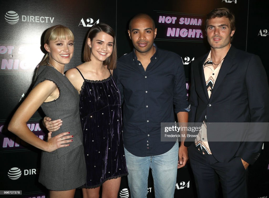 Actresses Maika Monroe, and Maia Mitchell, writer/director Elijah Bynum, and actor Alex Roe attend the screening of A-24's 'Hot Summer Nights' at the Pacific Theatres at The Grove on July 11, 2018 in Los Angeles, California.