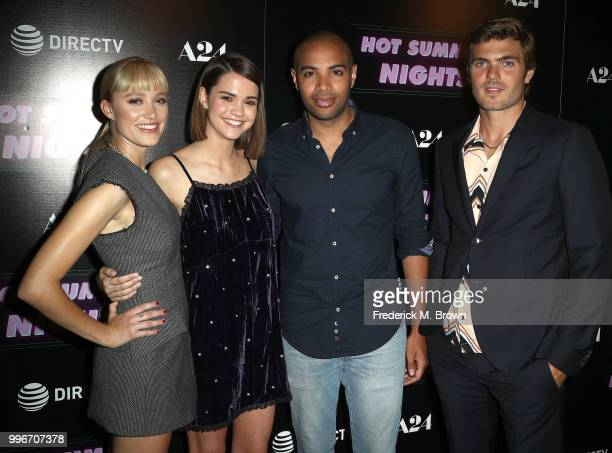Actresses Maika Monroe and Maia Mitchell writer/director Elijah Bynum and actor Alex Roe attend the screening of A24's 'Hot Summer Nights' at the...